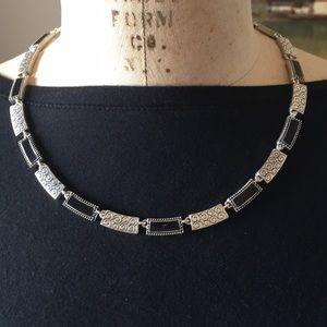 Brighton necklace with black enamel & silver links